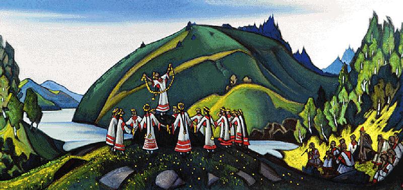 (1/4) Декорация Николая Константиновича Рериха к балету «Весна священная» (1913)