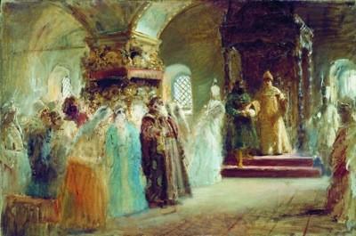 """К. Е. Маковский. """"Выбор невесты царём Алексеем Михайловичем"""", 1887"""