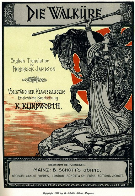 Опера Рихарда Вагнера «Валькирия». Brünnhilde at the rock, title page art from the 1899 Schott's vocal score.