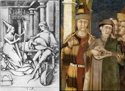 ©  Meckenem, The Lute player and the harpist (1490); Simone Martini, (1312-17, деталь фрески)  ⁄  Web Gallery of art
