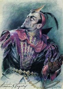 Александр Пирогов в партии Мефистофеля в опере Ш. Гуно «Фауст». Художник П. А. Скотарь