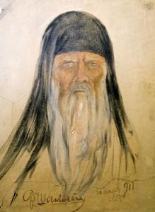 Автопортрет Ф. Шаляпина в роли Досифея («Хованщина»), сделанный на стене гримуборной артиста в Мариинском театре (1911 год)