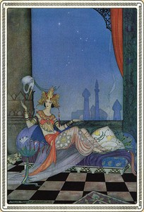 Scheherazade Went on with Her Story, illustration from Arabian Nights (1928) by Virginia Frances Sterret.