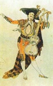 Эскиз театрального костюма Фигаро