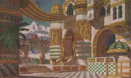 Дворец Черномора. Эскиз декораций. Иван Билибин, 1900