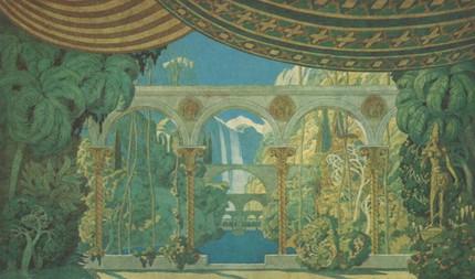 Сады Черномора. Эскиз декораций. Иван Билибин. 1913