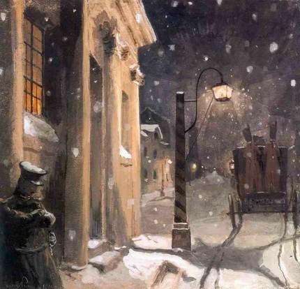 Бенуа А. Герман у подъезда дома графини. 1910